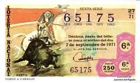 Décimo de Lotería Nacional de 1971 Sorteo 27 - TOREO A CABALLO