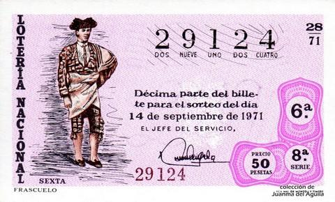 Décimo de Lotería Nacional de 1971 Sorteo 28 - FRASCUELO