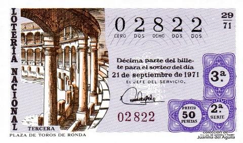 Décimo de Lotería Nacional de 1971 Sorteo 29 - PLAZA DE TOROS DE RONDA