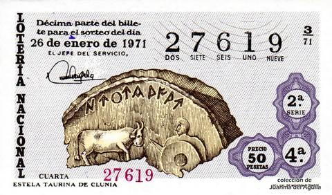 Décimo de Lotería Nacional de 1971 Sorteo 3 - ESTELA TAURINA DE CLUNIA