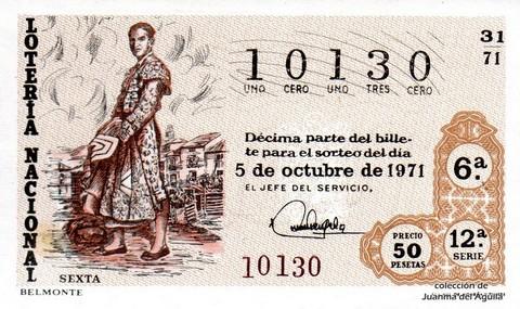 Décimo de Lotería Nacional de 1971 Sorteo 31 - BELMONTE