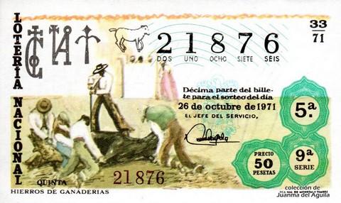 Décimo de Lotería Nacional de 1971 Sorteo 33 - HIERROS DE GANADERIAS