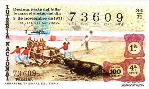 Décimo de Lotería Nacional de 1971 Sorteo 34 - ARRASTRE TRIUNFAL DEL TORO