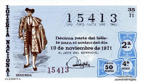 Décimo de Lotería Nacional de 1971 Sorteo 35 - GUERRITA