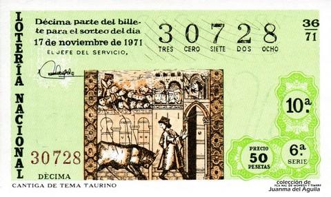 Décimo de Lotería Nacional de 1971 Sorteo 36 - CANTIGA DE TEMA TAURINO