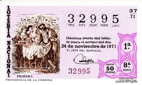 Décimo de Lotería Nacional de 1971 Sorteo 37 - PRESIDENCIA DE LA CORRIDA