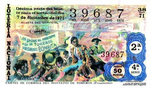 Décimo de Lotería Nacional de 1971 Sorteo 38 - CARTEL DE CORRIDA DEL MONTEPIO DE TOREROS. (Fragmento)