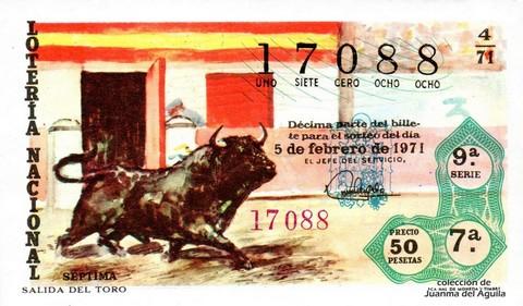 Décimo de Lotería Nacional de 1971 Sorteo 4 - SALIDA DEL TORO