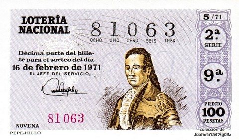 Décimo de Lotería Nacional de 1971 Sorteo 5 - PEPE-HILLO