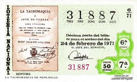 Décimo de Lotería Nacional de 1971 Sorteo 6 - LA TAUROMAQUIA DE PEPE-HILLO