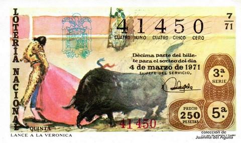 Décimo de Lotería Nacional de 1971 Sorteo 7 - LANCE A LA VERONICA