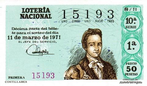 Décimo de Lotería Nacional de 1971 Sorteo 8 - COSTILLARES