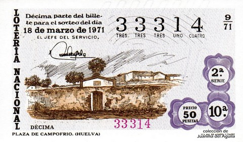 Décimo de Lotería Nacional de 1971 Sorteo 9 - PLAZA DE CAMPOFRIO. (HUELVA)