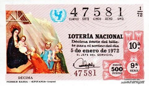 Décimo de Lotería 1972 / 1