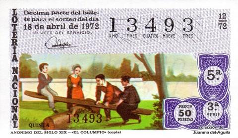 Décimo de Lotería 1972 / 12