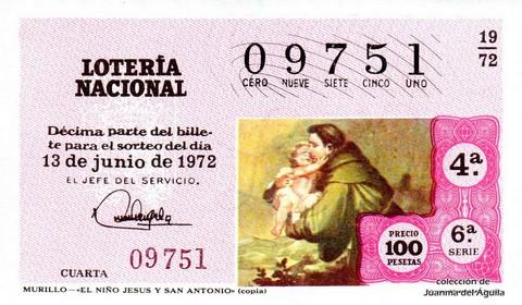 Décimo de Lotería 1972 / 19