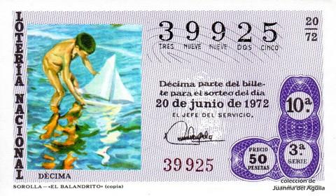 Décimo de Lotería 1972 / 20