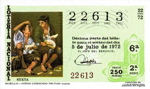 Décimo de Lotería 1972 / 22