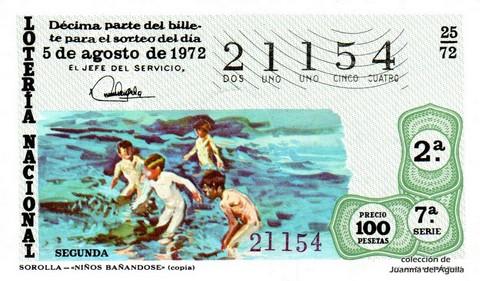 Décimo de Lotería 1972 / 25