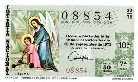 Décimo de Lotería 1972 / 30