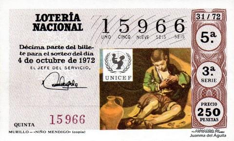 Décimo de Lotería 1972 / 31