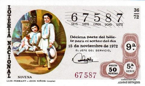 Décimo de Lotería 1972 / 36