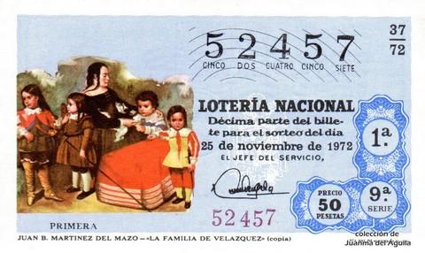 Décimo de Lotería 1972 / 37