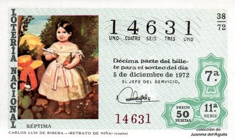 Décimo de Lotería 1972 / 38