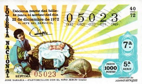 Décimo de Lotería 1972 / 40
