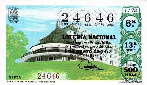 Décimo de Lotería Nacional de 1973 Sorteo 1 - «PARADOR DE TURISMO». Valle de Arán