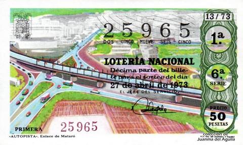 Décimo de Lotería Nacional de 1973 Sorteo 13 - «AUTOPISTA». Enlace de Mataró
