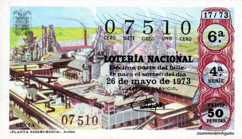 Décimo de Lotería Nacional de 1973 Sorteo 17 - «PLANTA SIDERURGICA». Avilés