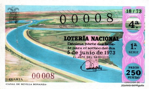 Décimo de Lotería Nacional de 1973 Sorteo 18 - «CANAL DE SEVILLA BONANZA»