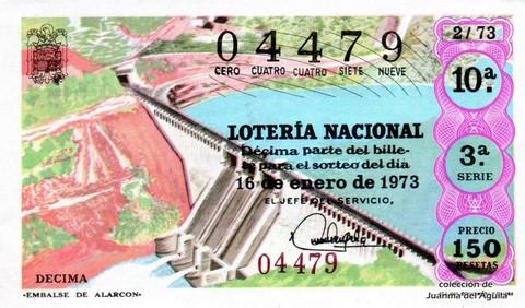 Décimo de Lotería Nacional de 1973 Sorteo 2 -  «EMBALSE DE ALARCÓN»
