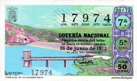 Décimo de Lotería Nacional de 1973 Sorteo 20 - «EMBALSE DE GUADARRANQUE»