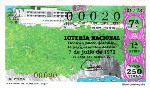 Décimo de Lotería Nacional de 1973 Sorteo 21 - «PARADOR DE TURISMO». Bagur