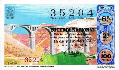 Décimo de Lotería Nacional de 1973 Sorteo 22 - «VIADUCTO DE RIAZA». Ferrocarril Madrid-Burgos