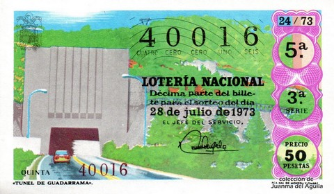 Décimo de Lotería Nacional de 1973 Sorteo 24 - «TUNEL DE GUADARRAMA».