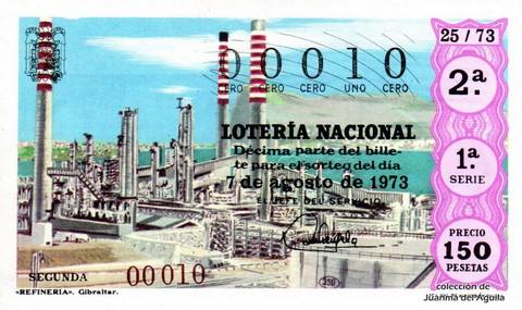 Décimo de Lotería Nacional de 1973 Sorteo 25 - «REFINERIA». Gibraltar.