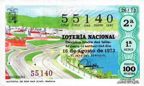Décimo de Lotería Nacional de 1973 Sorteo 26 - «AUTOVIA DE SON SAN JUAN». Mallorca