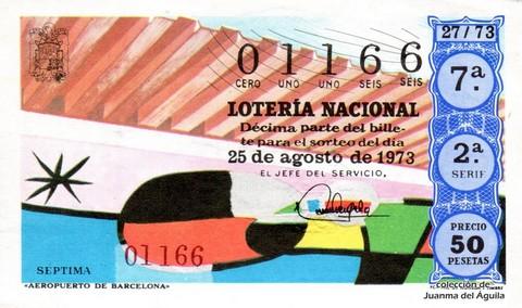 Décimo de Lotería Nacional de 1973 Sorteo 27 - «AEROPUERTO DE BARCELONA»
