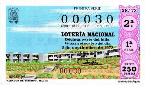 Décimo de Lotería Nacional de 1973 Sorteo 28 - «PARADOR DE TURISMO». Mojácar