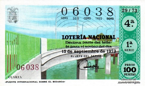 Décimo de Lotería Nacional de 1973 Sorteo 29 - «PUENTE INTERNACIONAL SOBRE EL BIDASOA»