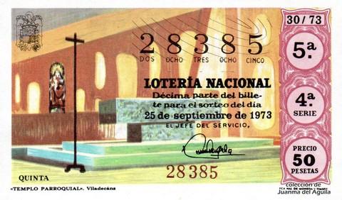 Décimo de Lotería Nacional de 1973 Sorteo 30 - «TEMPLO PARROQUIAL». Viladecans