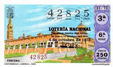 Décimo de Lotería Nacional de 1973 Sorteo 31 - «UNIVERSIDAD LABORAL». Gijón
