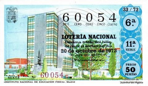 Décimo de Lotería Nacional de 1973 Sorteo 33 - «INSTITUTO NACIONAL DE EDUCACION FISICA». Madrid