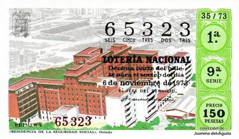 Décimo de Lotería Nacional de 1973 Sorteo 35 - «RESIDENCIA DE LA SEGURIDAD SOCIAL». Oviedo