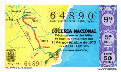 Décimo de Lotería Nacional de 1973 Sorteo 36 - «TRASVASE TAJO-SEGURA»