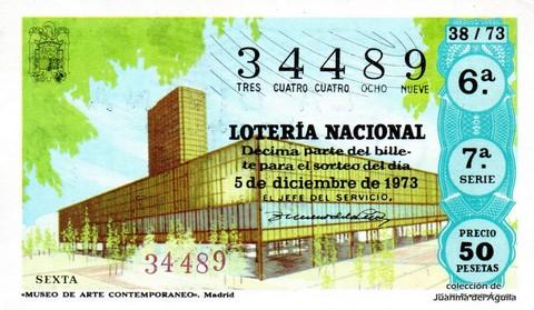 Décimo de Lotería Nacional de 1973 Sorteo 38 - «MUSEO DE ARTE CONTEMPORANEO». Madrid