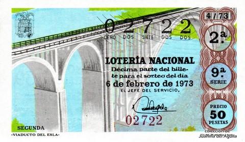 Décimo de Lotería Nacional de 1973 Sorteo 4 -  «VIADUCTO DEL ESLA»